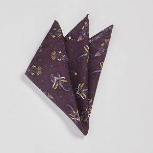 Pocket square Pushkina Aubergine EE014PS/001 by English Eccentrics