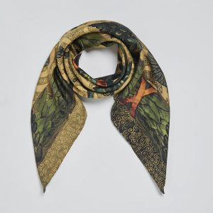 Silk square scarf Gaia Chartreuse EE003S/011 by English Eccentrics