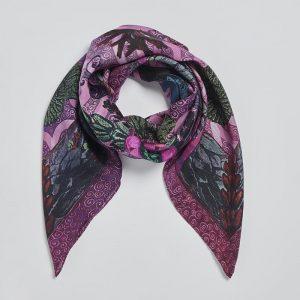 Silk square scarf Gaia Fuchsia EE003S/012 by English Eccentrics