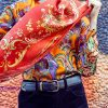Silk square scarf Tapestry Red EE015S/007 by English Eccentrics